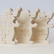 Houten puzzel egel drie stuks 2